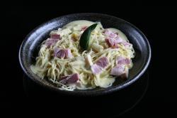 萩の茶屋:自家製ベーコンを使ったスパゲッティ・カルボナーラ